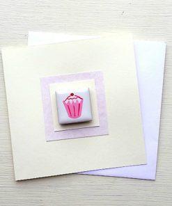 Grußkarte mit Magnet-Fliese. Cupcake. Geburtstag. Feiern. Kuchen. Lecker.
