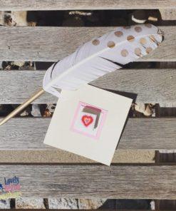 Kleine Grußkarte mit Magnet-Fliese. Handbemalt. Liebe. Love