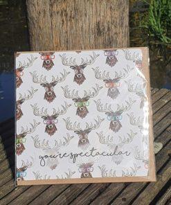 Grußkarte Hirsch mit Brille