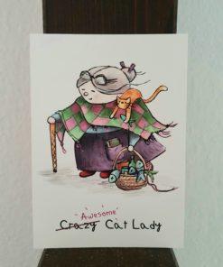 Postkarte Awesome Cat Lady * Katzenlady aus Schottland