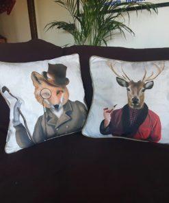 Gentleman-Kissen mit Hirsch und Fuchs