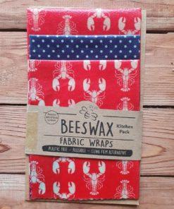 Rote Bienenwachstücher mit Hummern * 3-er Set * plastikfreie Frischhaltefolie