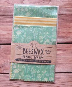 Minz-grüne Bienenwachstücher mit Blumen * 3er-Set * die plastikfreie Frischhaltefolie