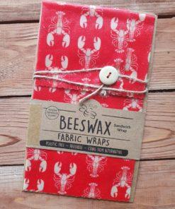 Rotes Bienenwachstuch mit Hummern